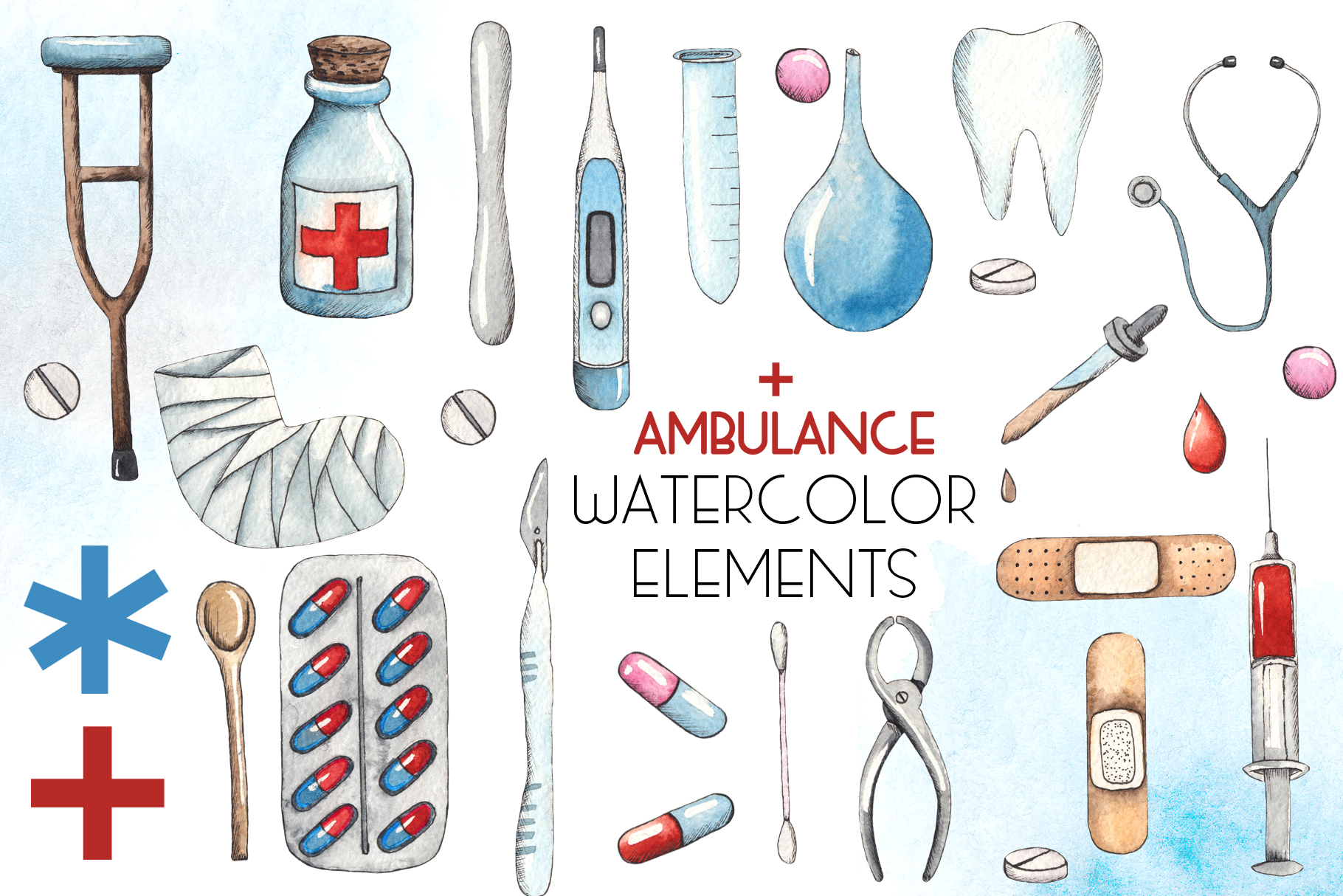 Ambulance. Watercolor collection example image 3