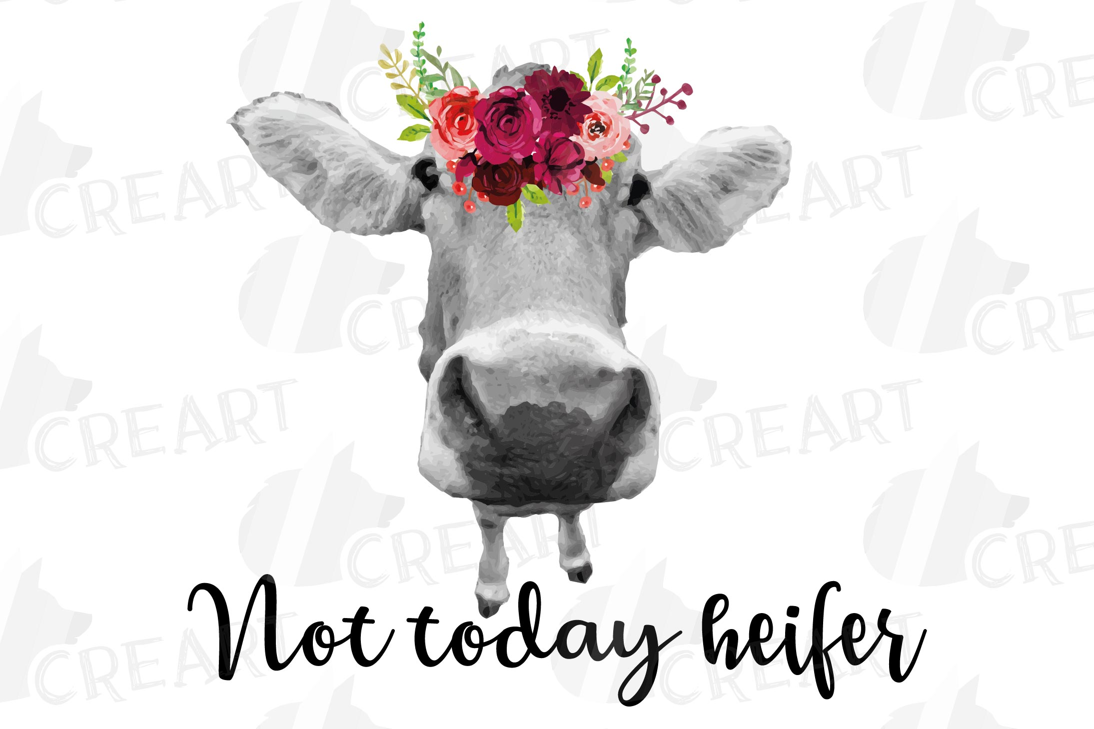 Not today Heifer printable floral burgundy decor, floral cow example image 4