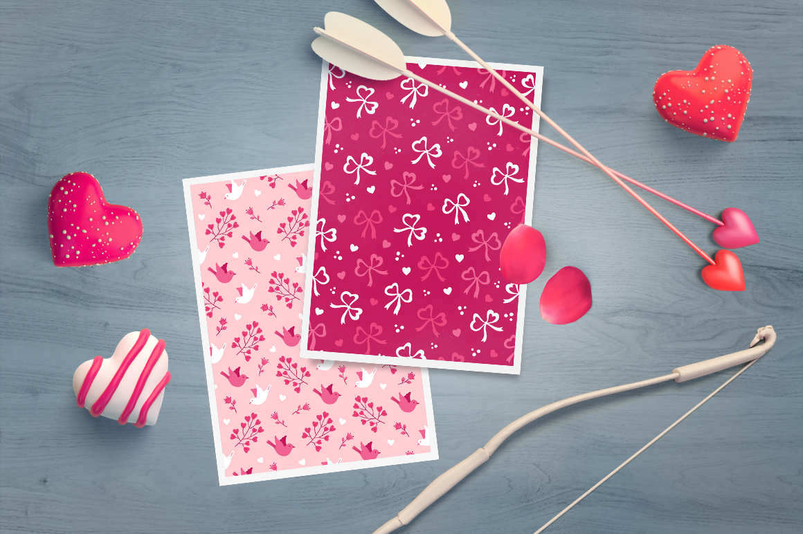 12 Valentine Seamless Patterns example image 6