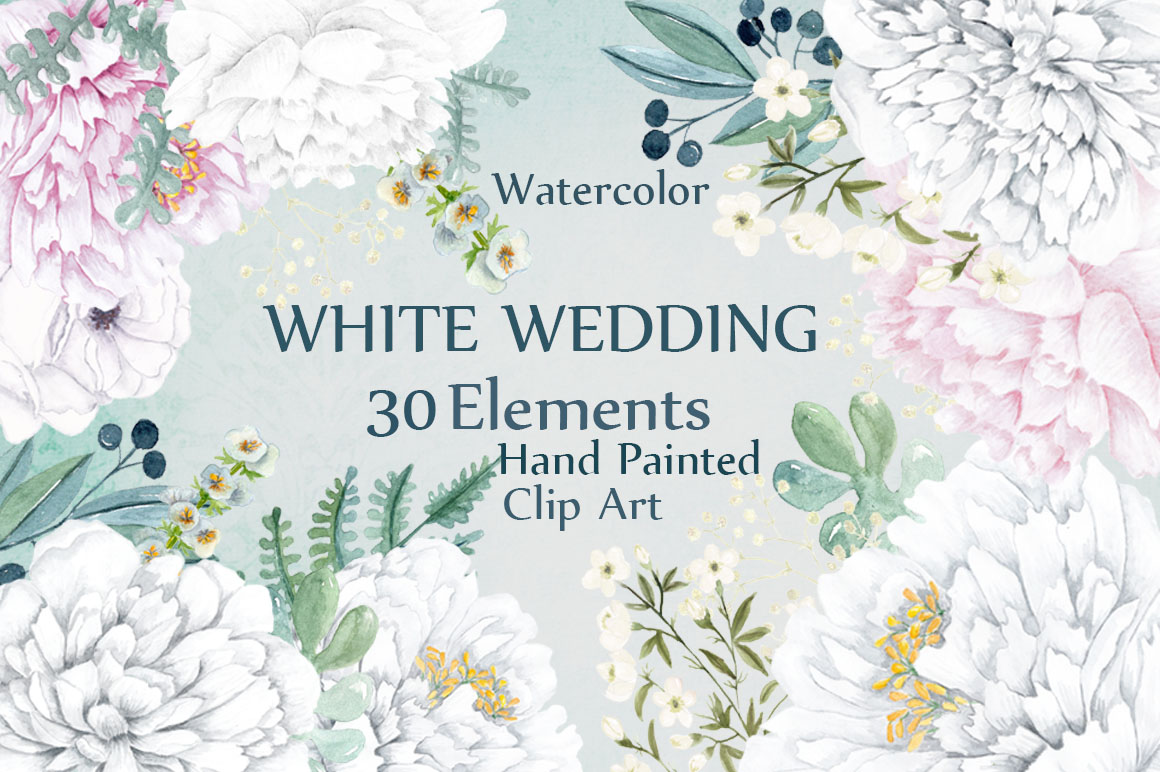 Watercolor white peony flowers clipart example image 1