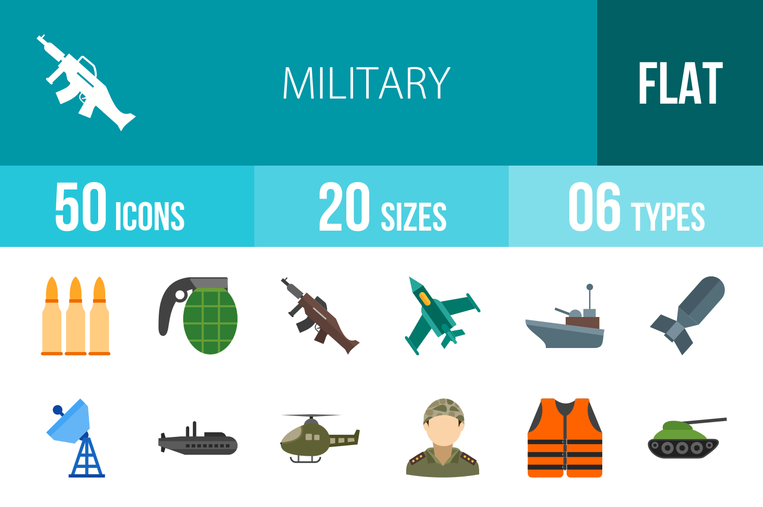 50 Military Flat Multicolor Icons example image 1