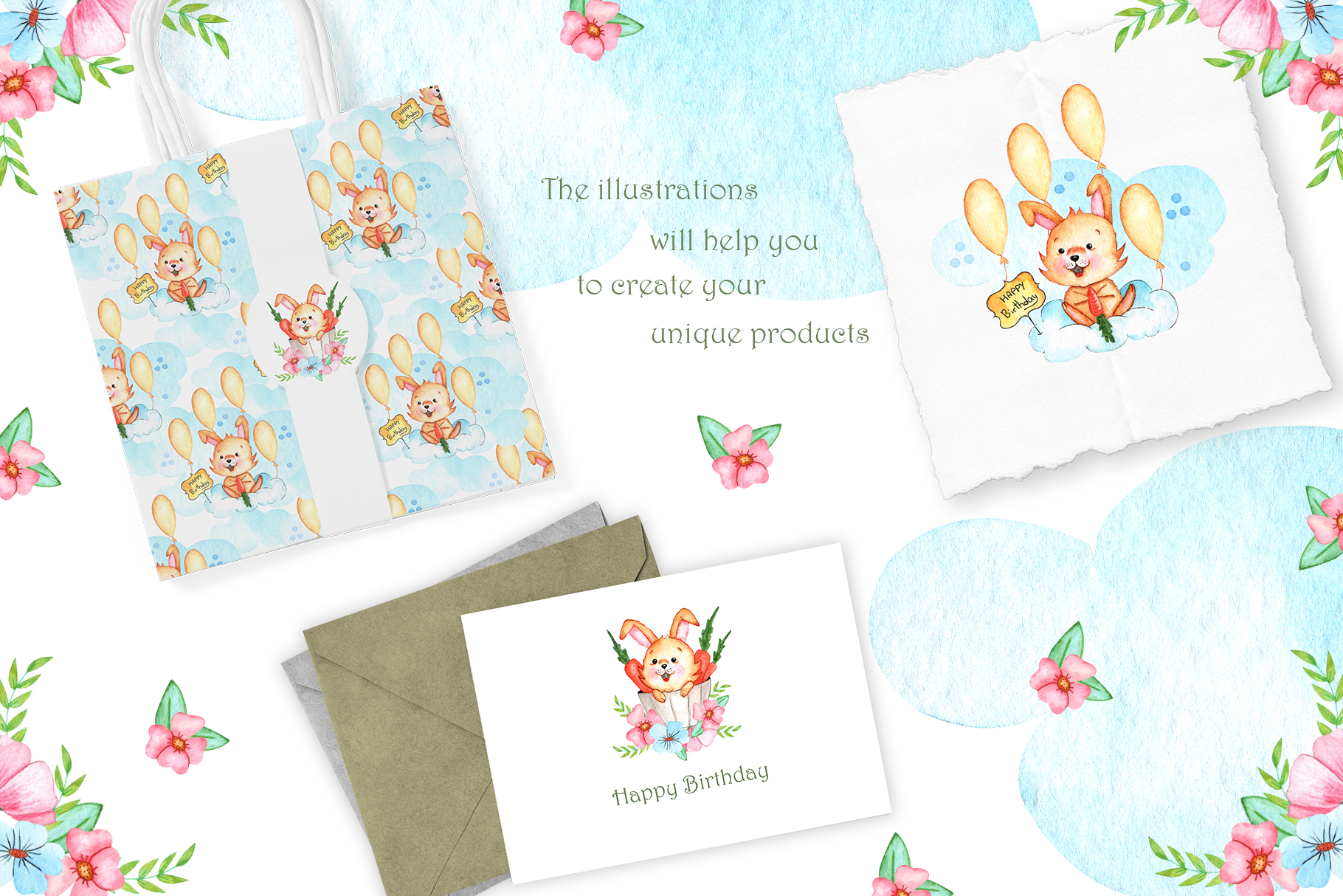 Watercolor Little Bunnies Illustrations example image 5