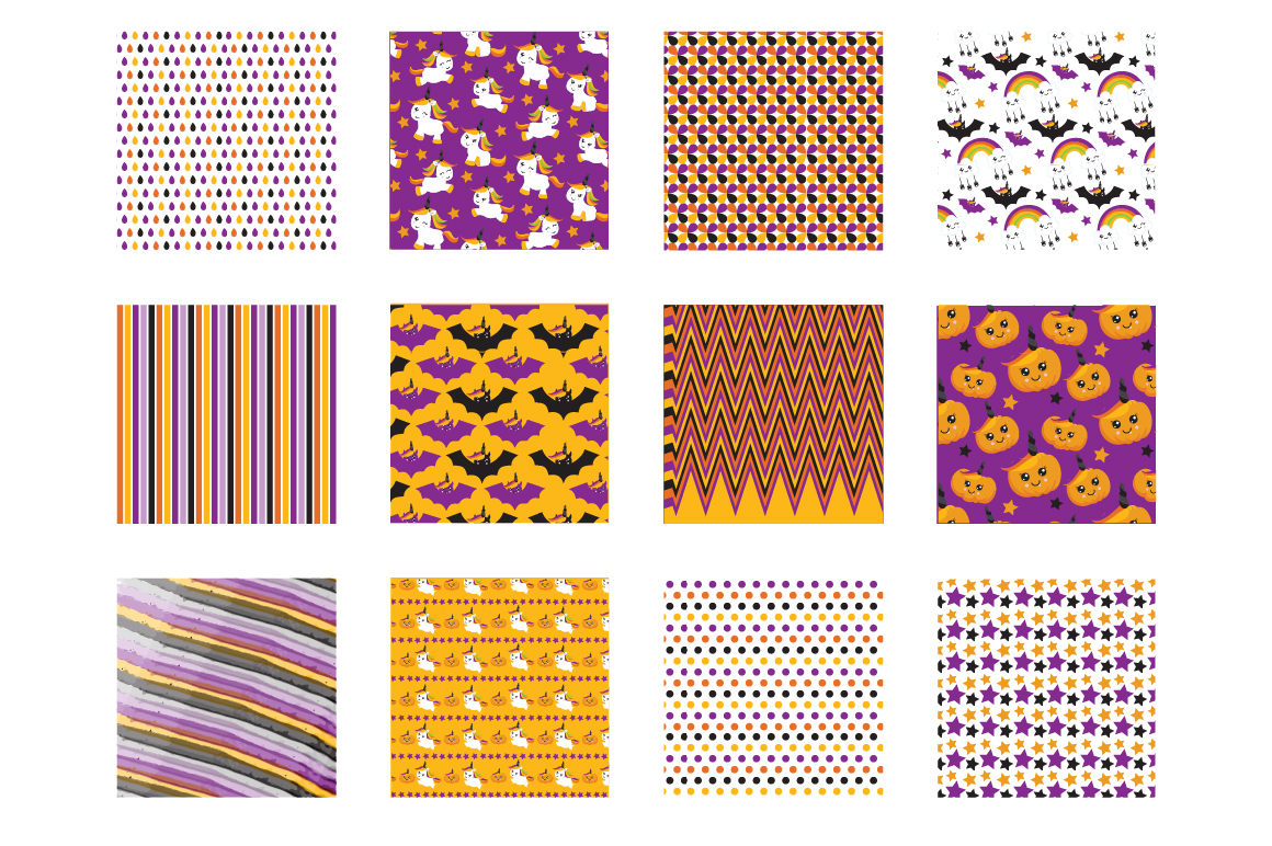 Halloween Unicorns Pattern collection, vector ai, eps example image 2