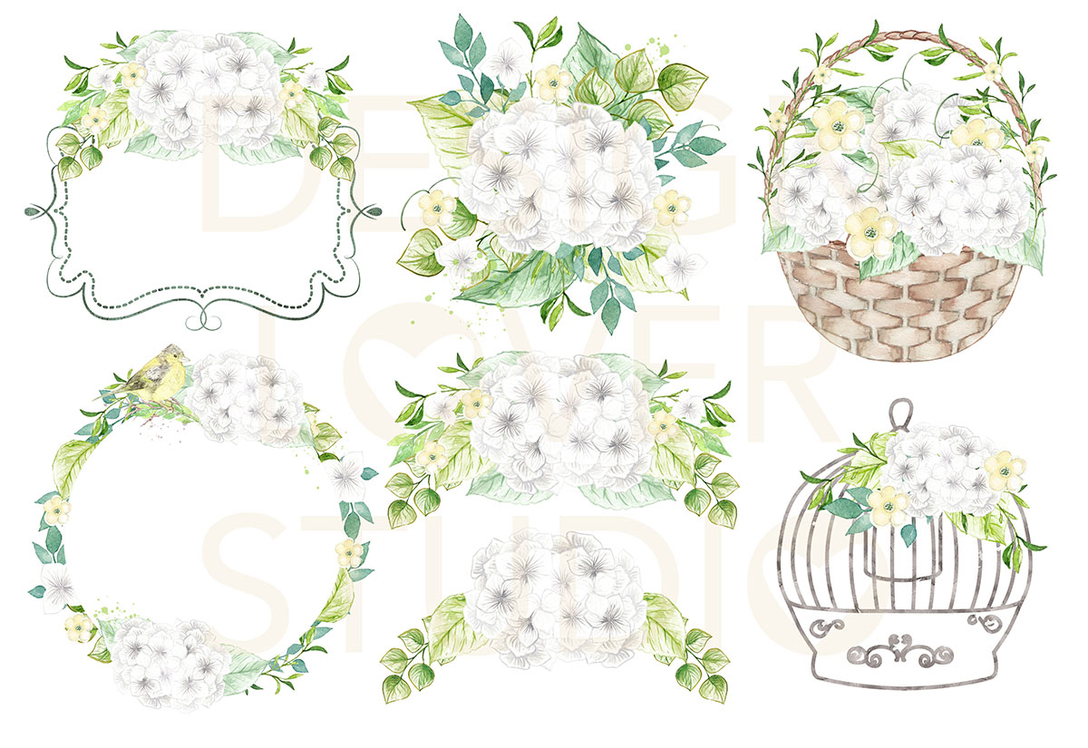 Watercolor White Hydrangeas design example image 2