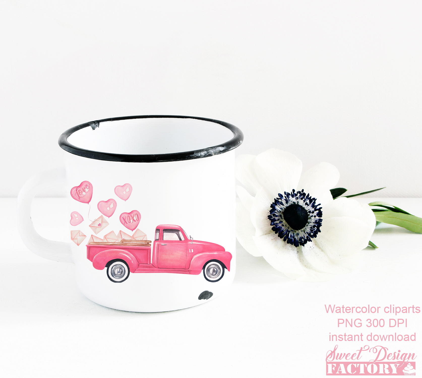 Valentine's day truck watercolor clipart example image 3