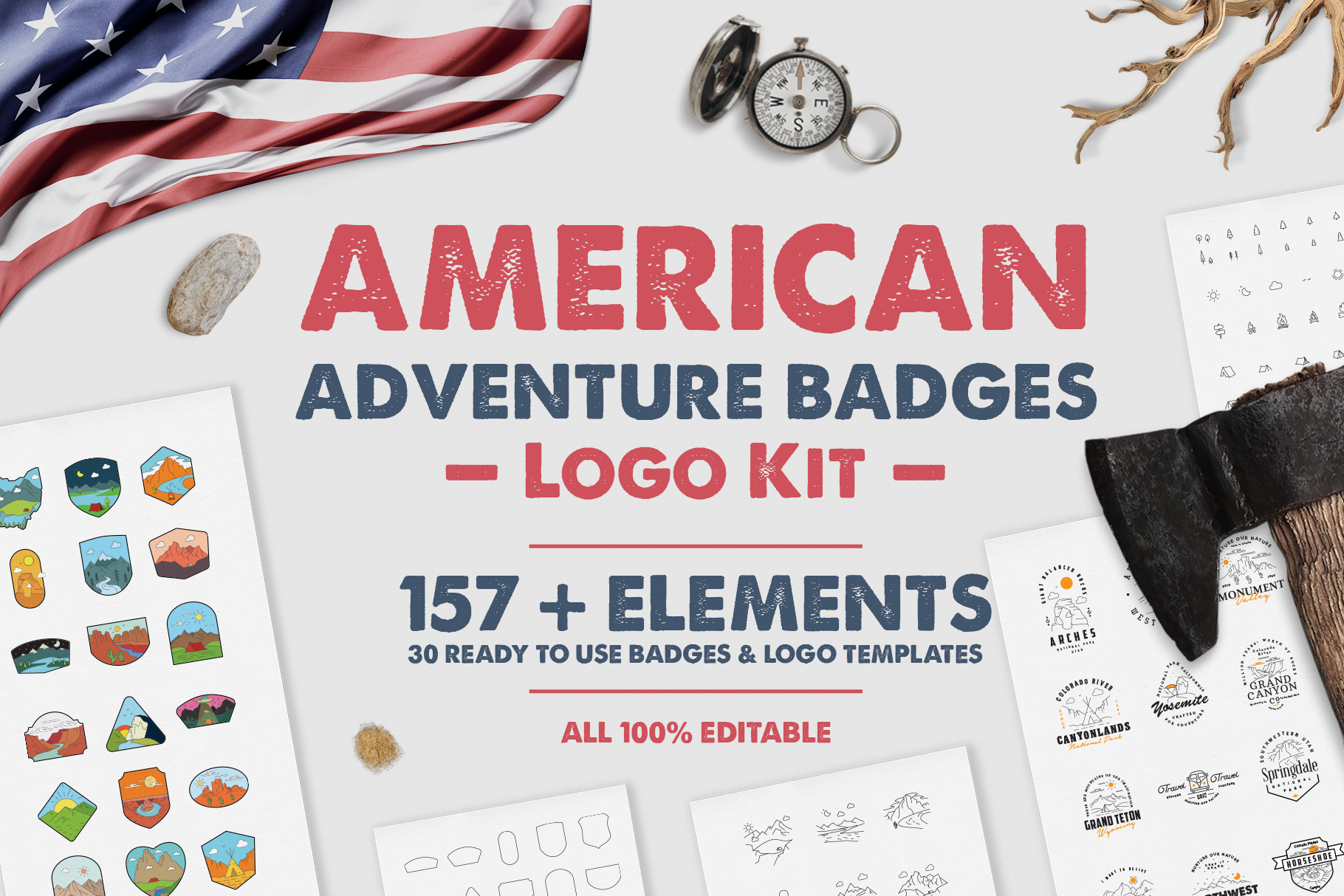 American Adventure Logo Kit / National Park Logos / Mountain example image 1
