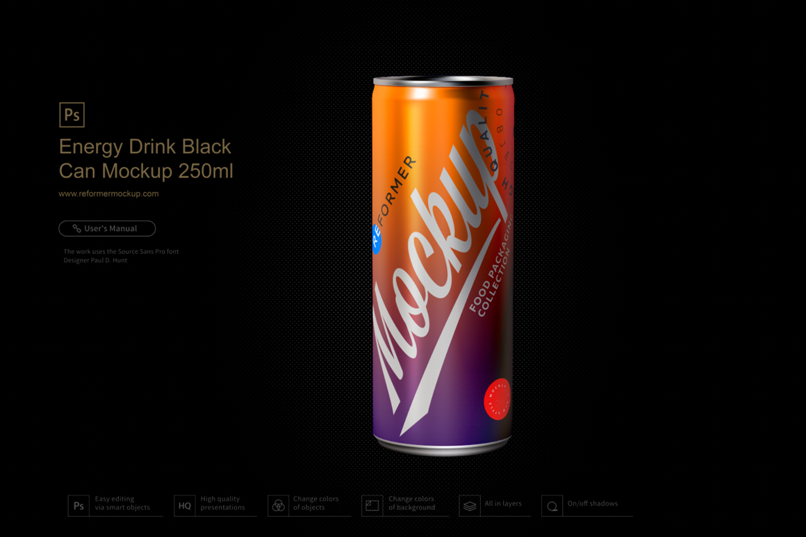 Energy Drink Black Can Mockup 250ml example image 3