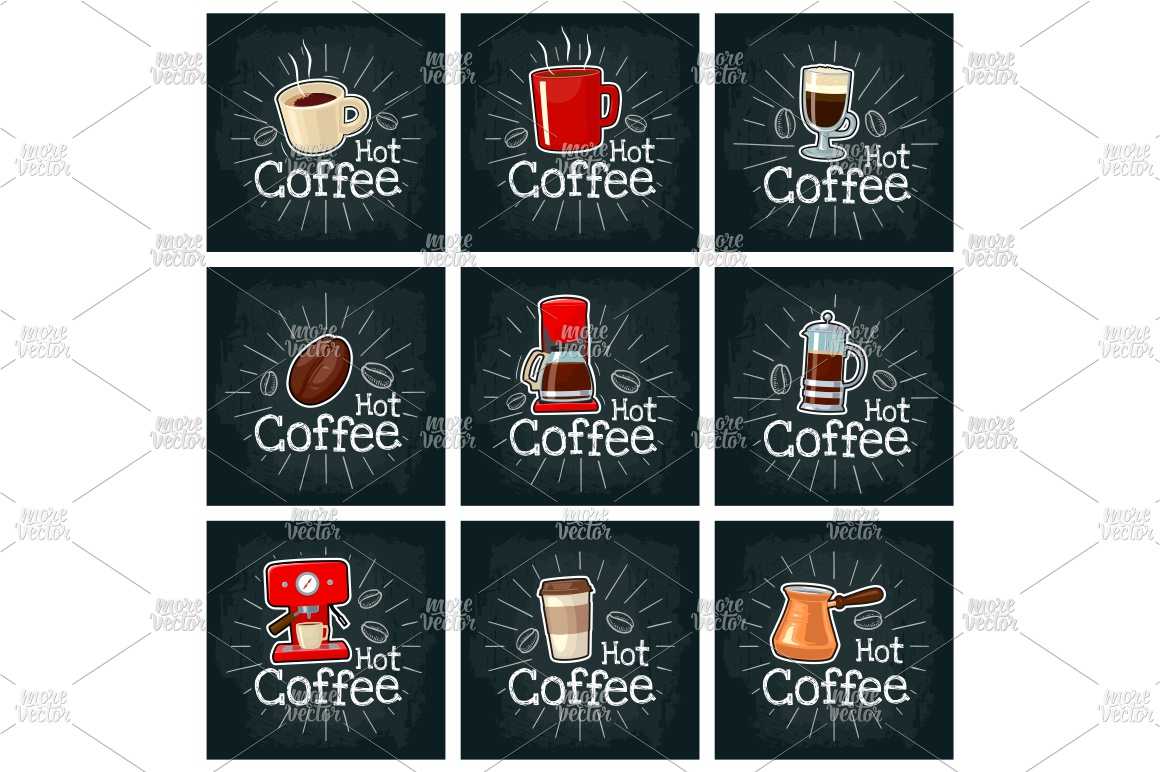 Set coffee. Vector color flat icon on the black chalkboard example image 1