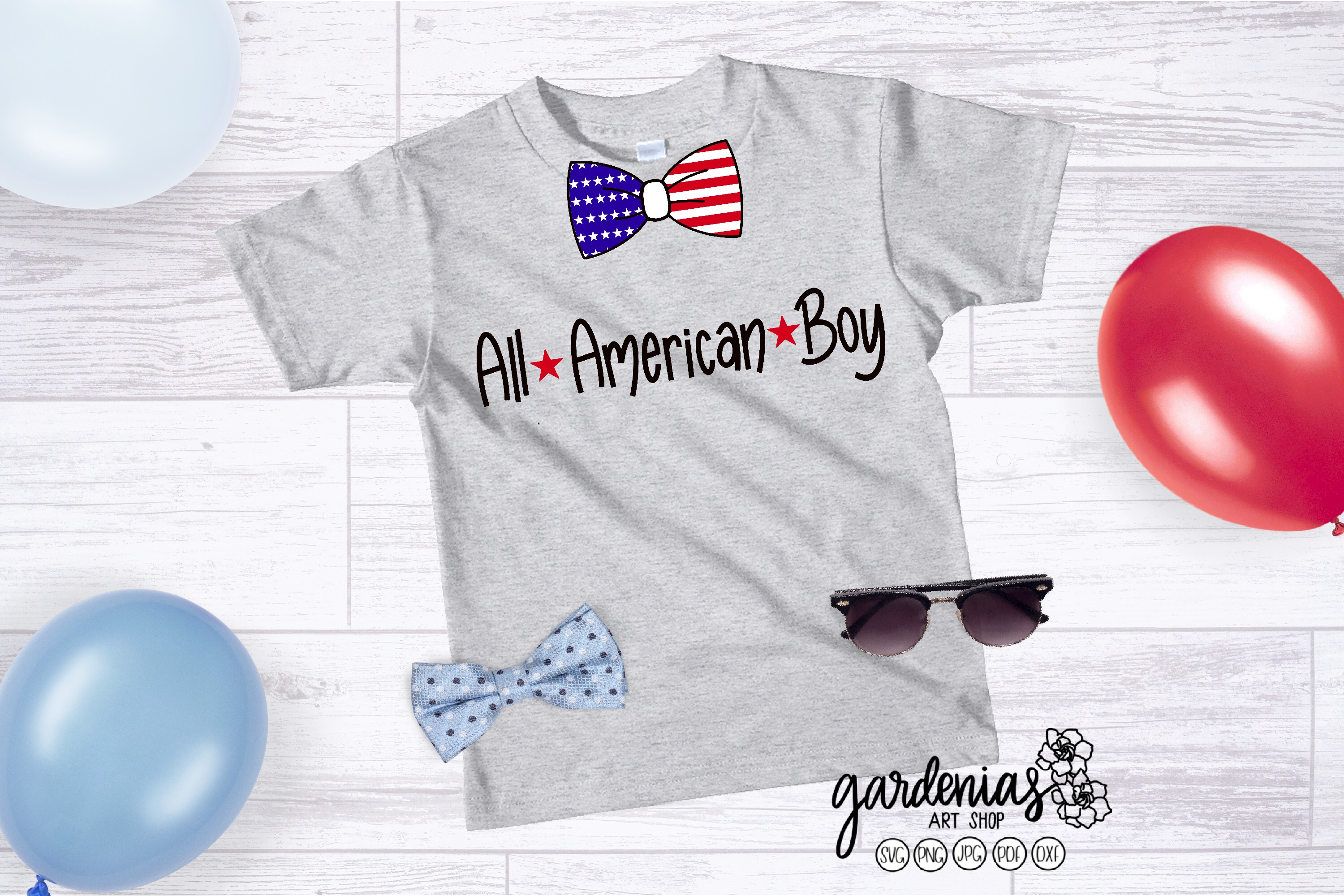 All American Boy SVG | Flag Bowtie | Boy's 4th of July example image 1