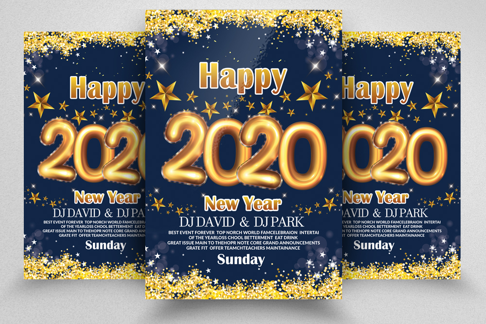 New Year Party Flyer/Poster Template example image 1