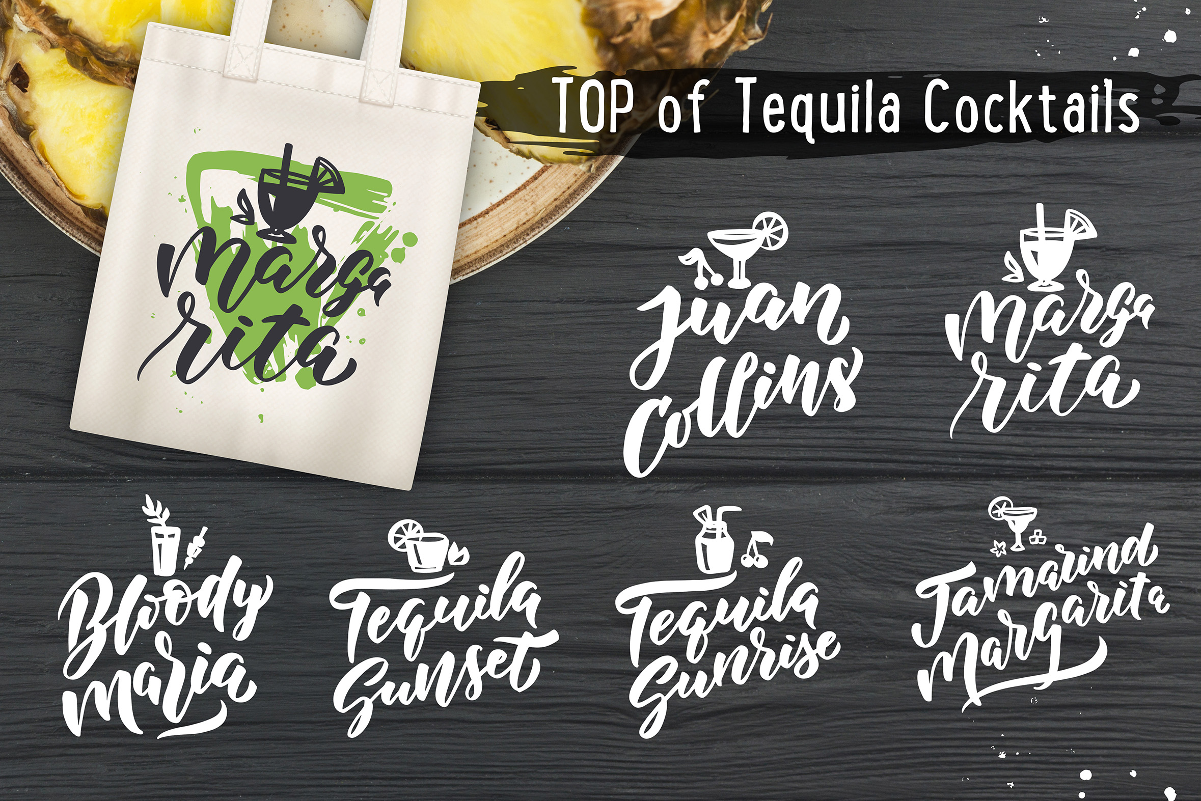 Cocktails bar, lettering & clipart example image 5