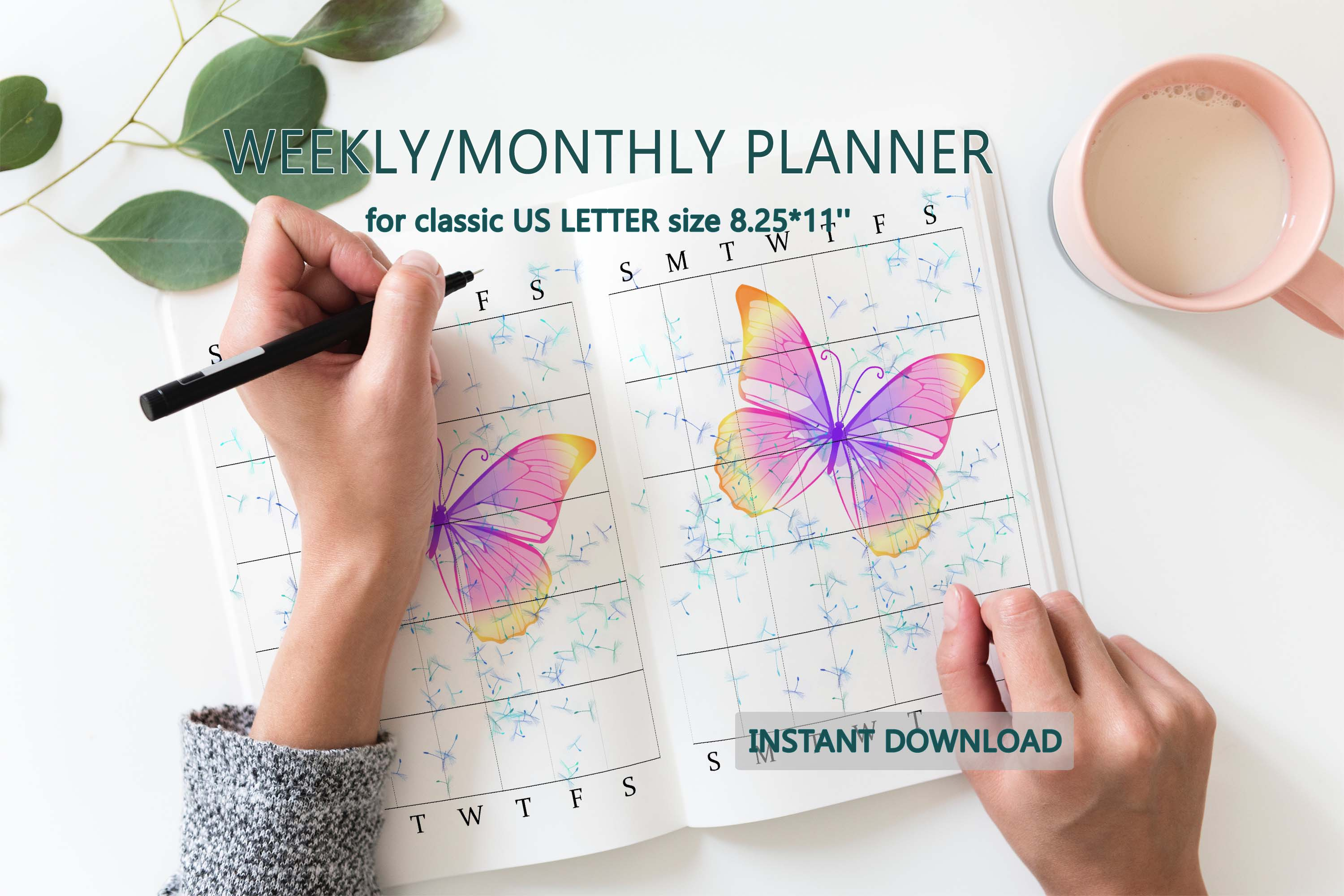Planner inserts letter planner printable Weekly daily example image 12