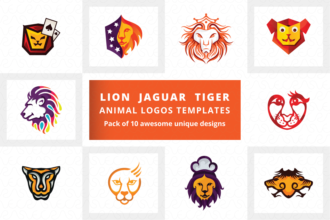 Lion Jaguar Tiger Animal Logo Templates Pack of 10 example image 1