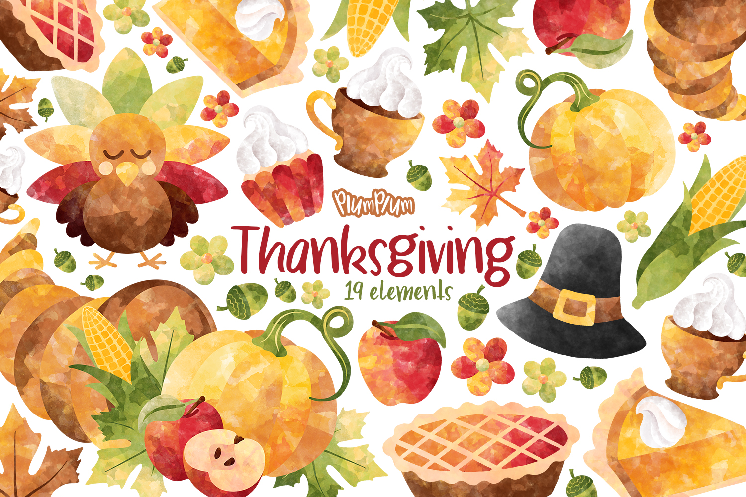 Thanksgiving Watercolor Cliparts example image 1
