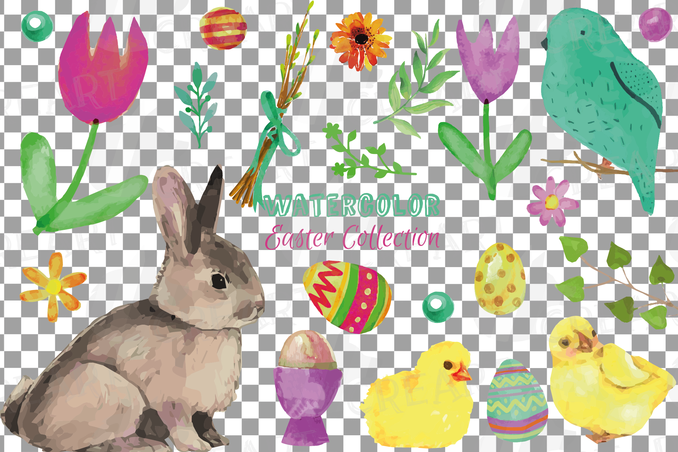 Colorful Easter elements clip art pack, printable hand drawn example image 18