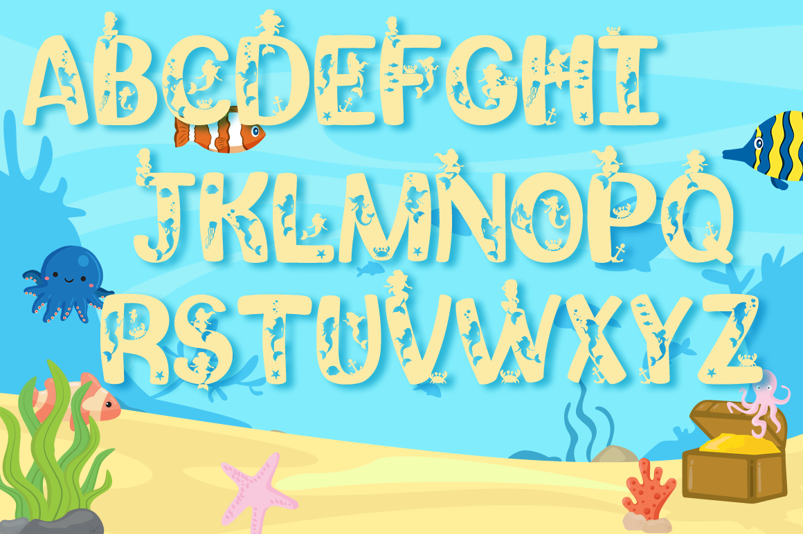 Mermaid Alphabet and Split Letters SVG Cut Files Pack example image 2