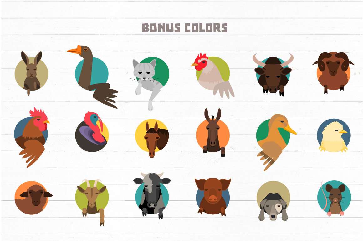 Vector Farm animals 36 icons in 2 colors example image 5