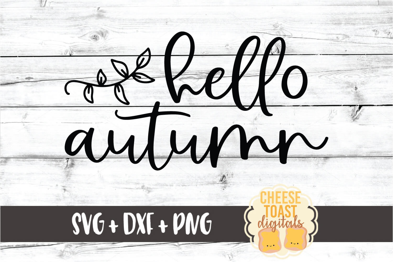 Hello Autumn - Fall Sign SVG PNG DXF Cut Files example image 2