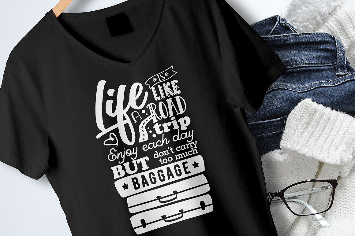 Life is like a Road Trip - Vector Typography Design example image 6