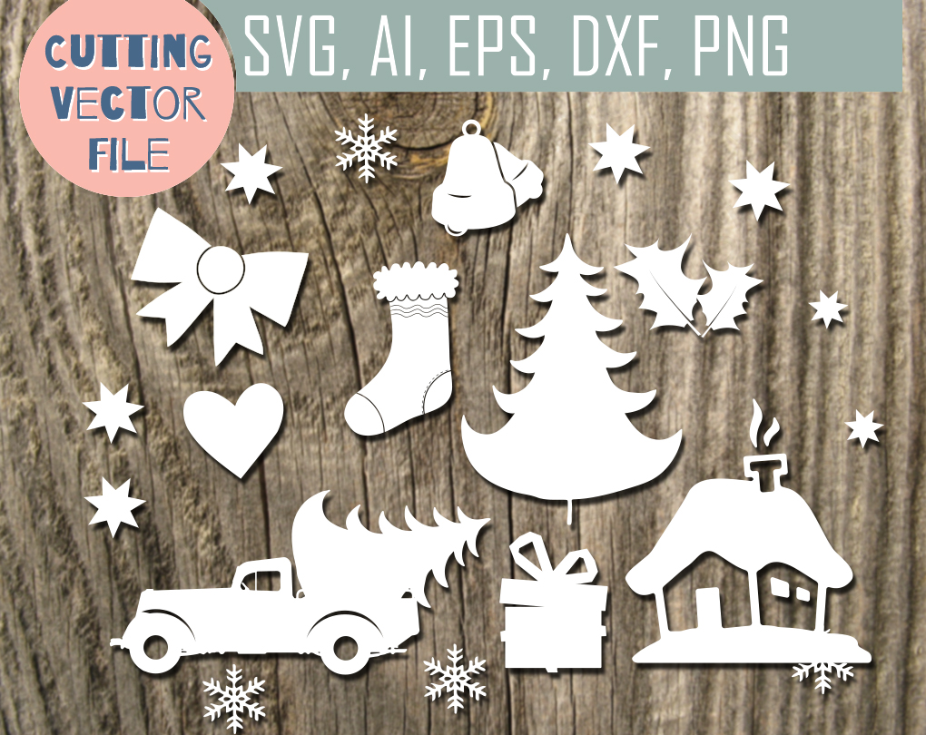 Christmas Clip art -  cutting files, SVG, PNG, JPG, EPS, AI, DXF example image 2