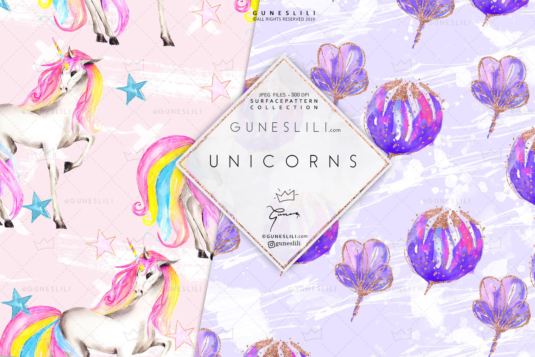Pastel Unicorn Digital Pattern Pack Watercolor example image 7