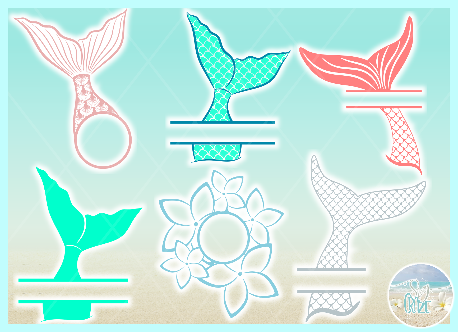 Mermaid Tail Monogram Svg Dxf Eps Png Pdf Files For Cricut example image 6