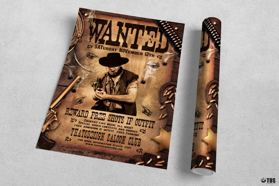 Wanted Western Party Flyer Template example image 3