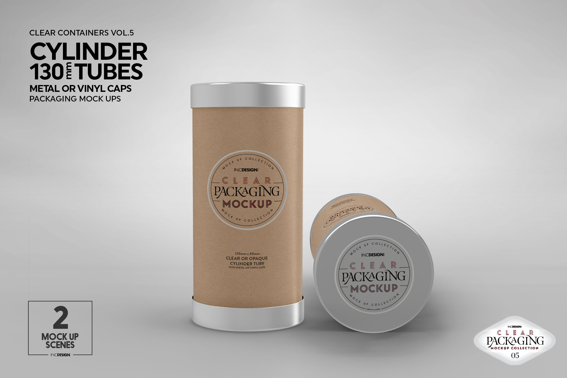 130mm Cylinder Tube Packaging Mockup example image 6