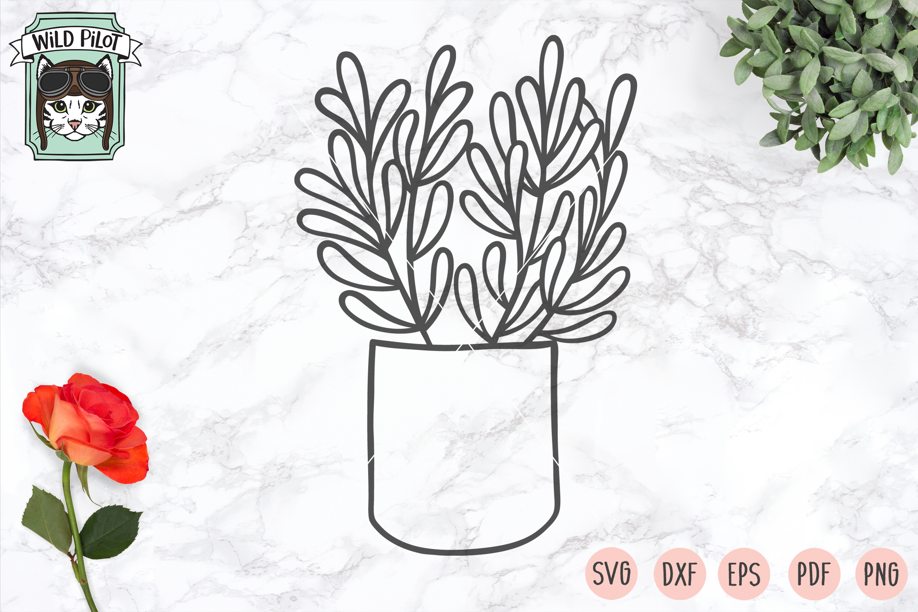 Plants SVG files, Potted Plants cut files, Planters, Garden example image 3