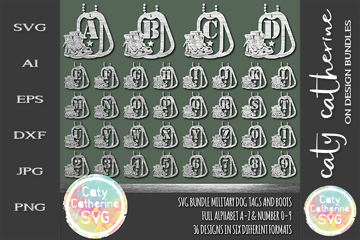 Military Bundle Dog Tags And Boots Full Alphabet Number Set example image 1