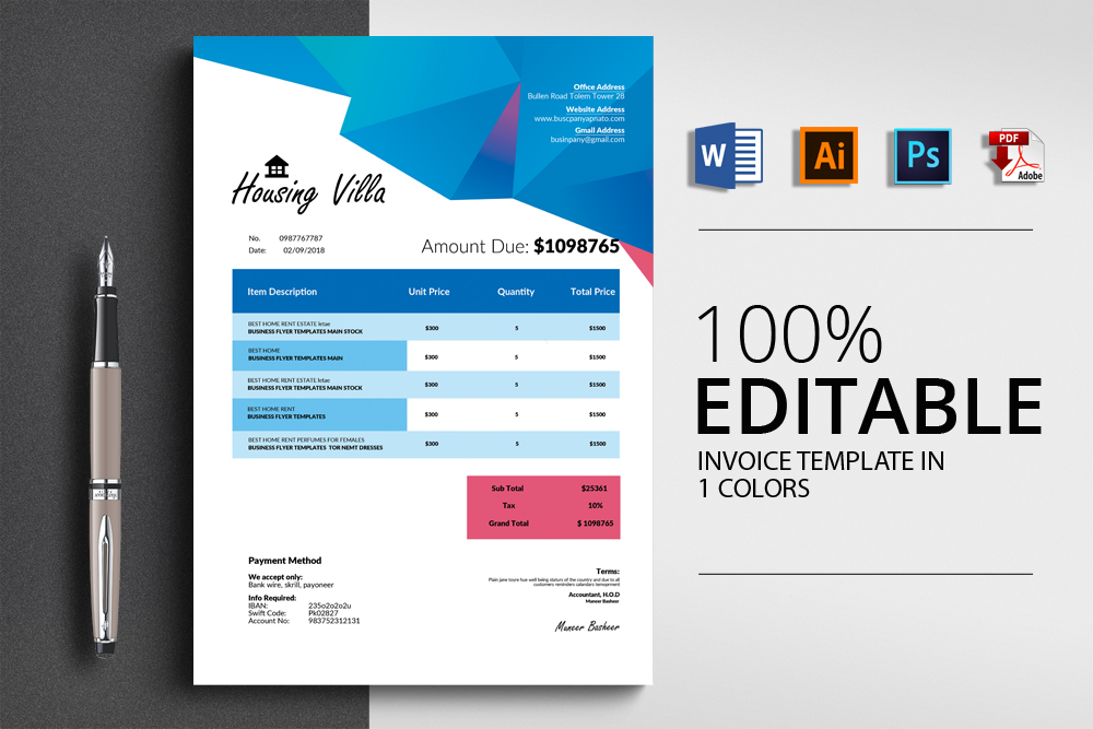 Invoice Ms Word Template example image 1