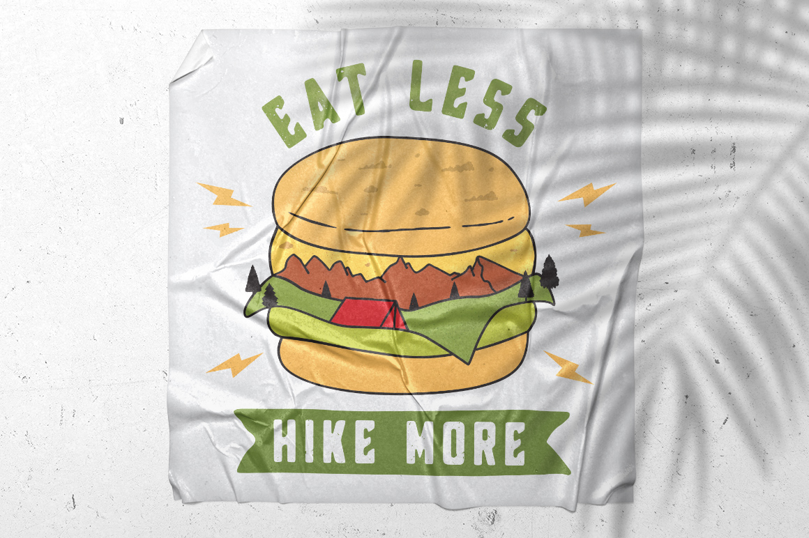Mountain Burger Logo / Hike More Logo / Eat Less Hike More example image 4