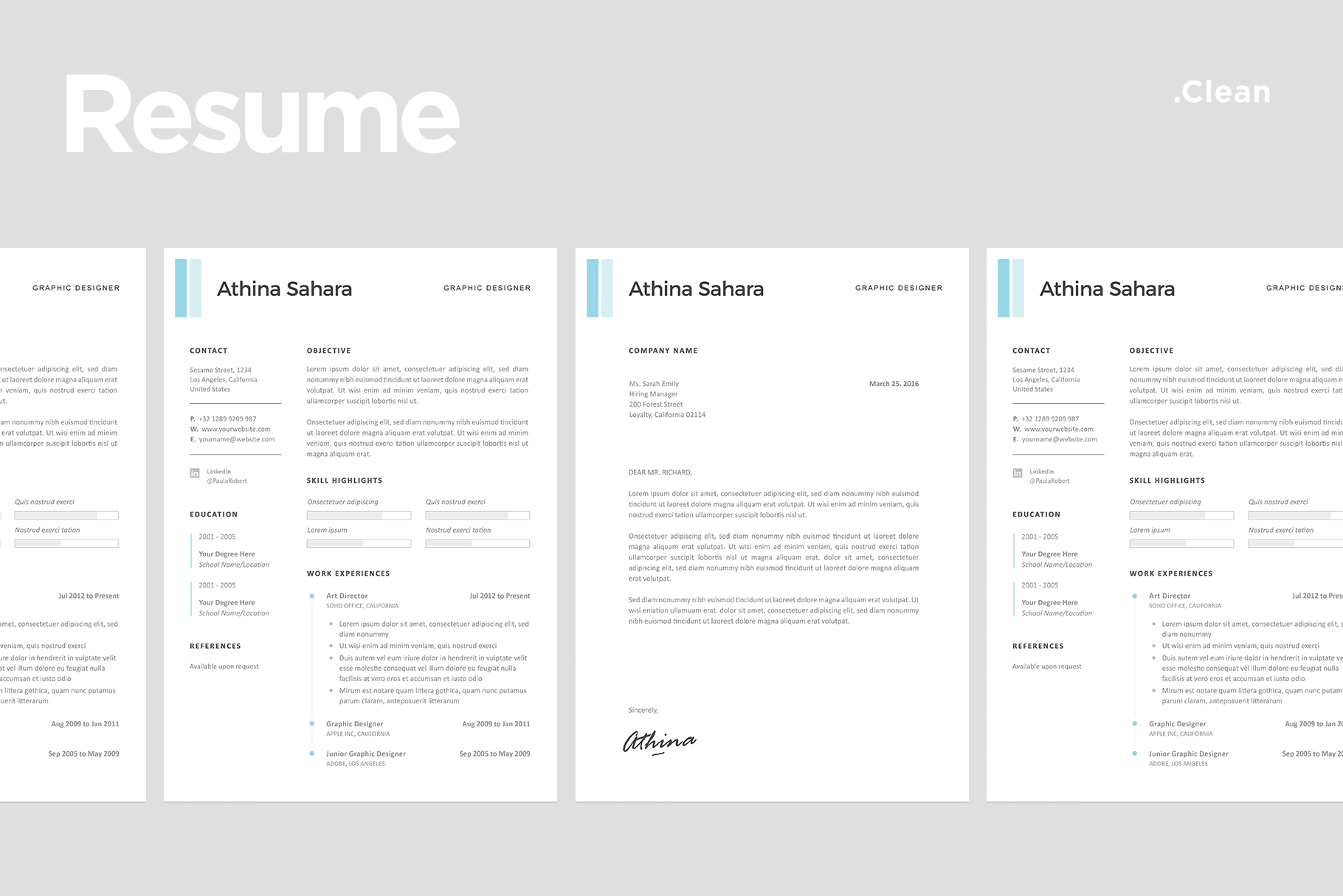 Clean Resume Templates With Match Cover Letter Template 03
