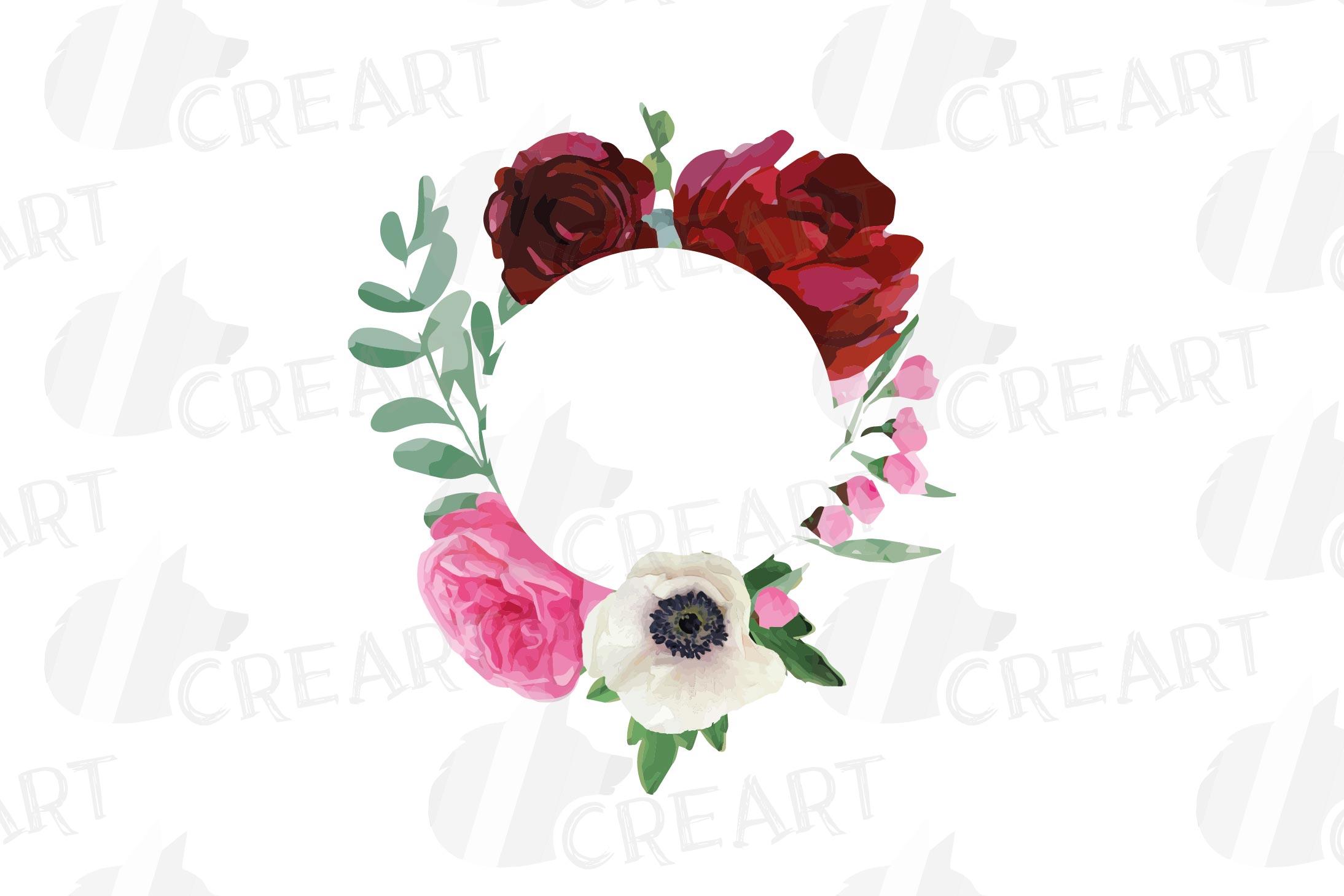 Watercolor elegant floral borders, rose, anemone frames example image 24