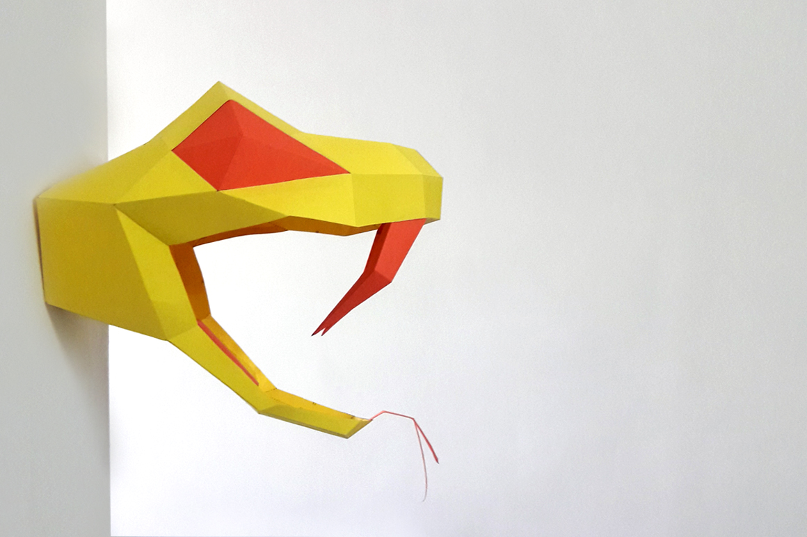 DIY Snake head Trophy - 3d papercraft example image 2