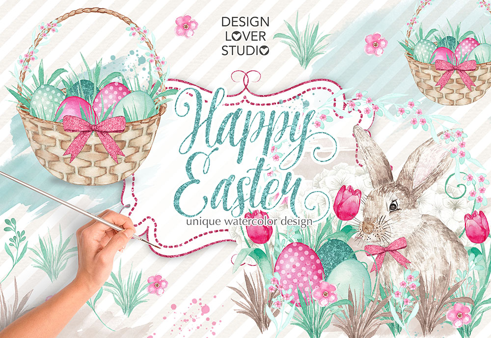 Watercolor Happy easter design example image 1
