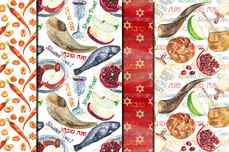 Watercolor Rosh Hashanah seamless digital paper pack example image 3