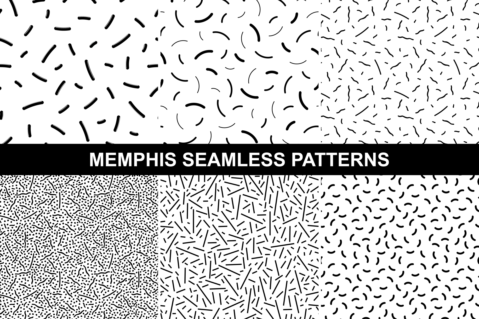 Memphis seamless patterns. example image 1