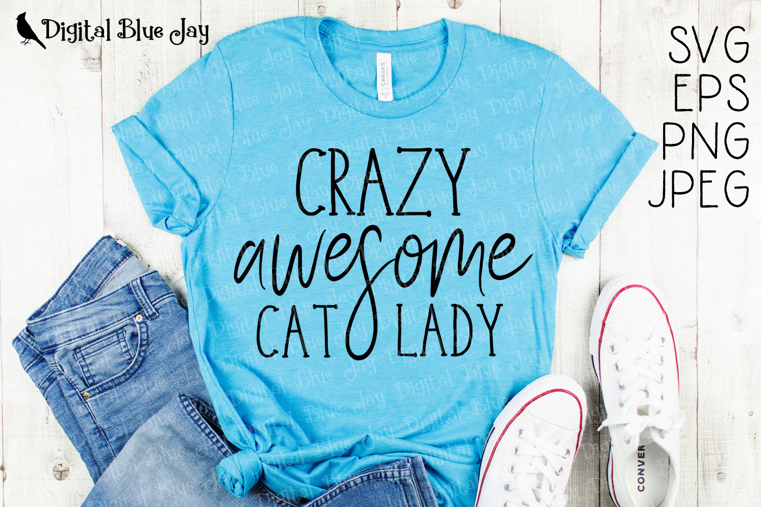 Crazy Awesome Cat Lady SVG PNG Cut Files example image 1