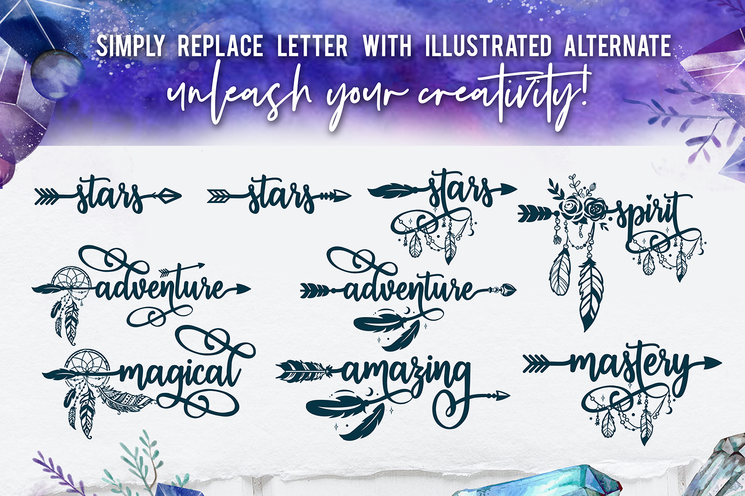 Bohema Spirit font and illustrations example image 7