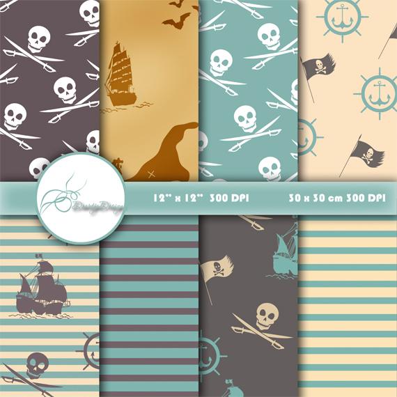 Pirates Digital Paper Pack example image 1