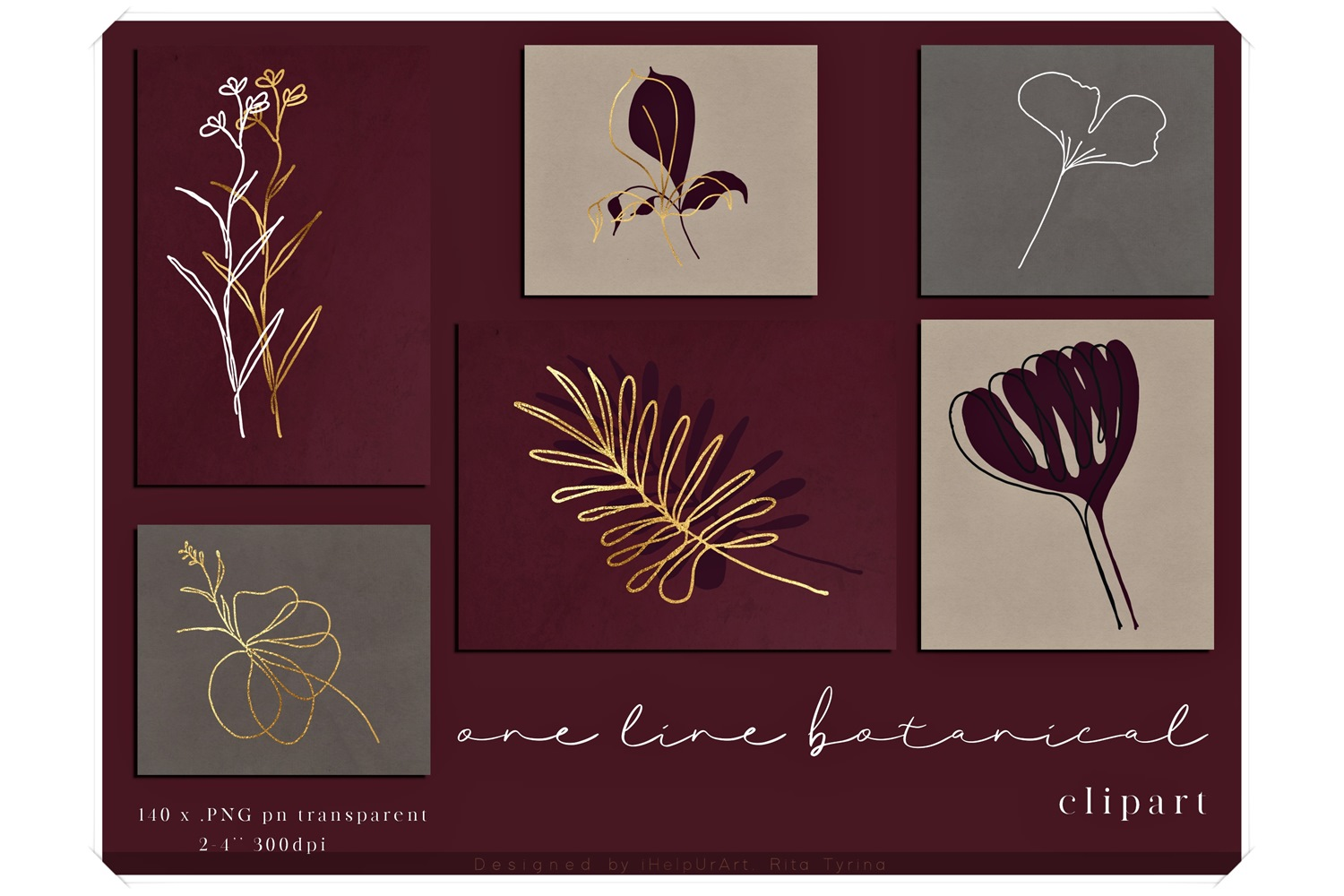 One Line Floral Clipart - Linear Art example image 1