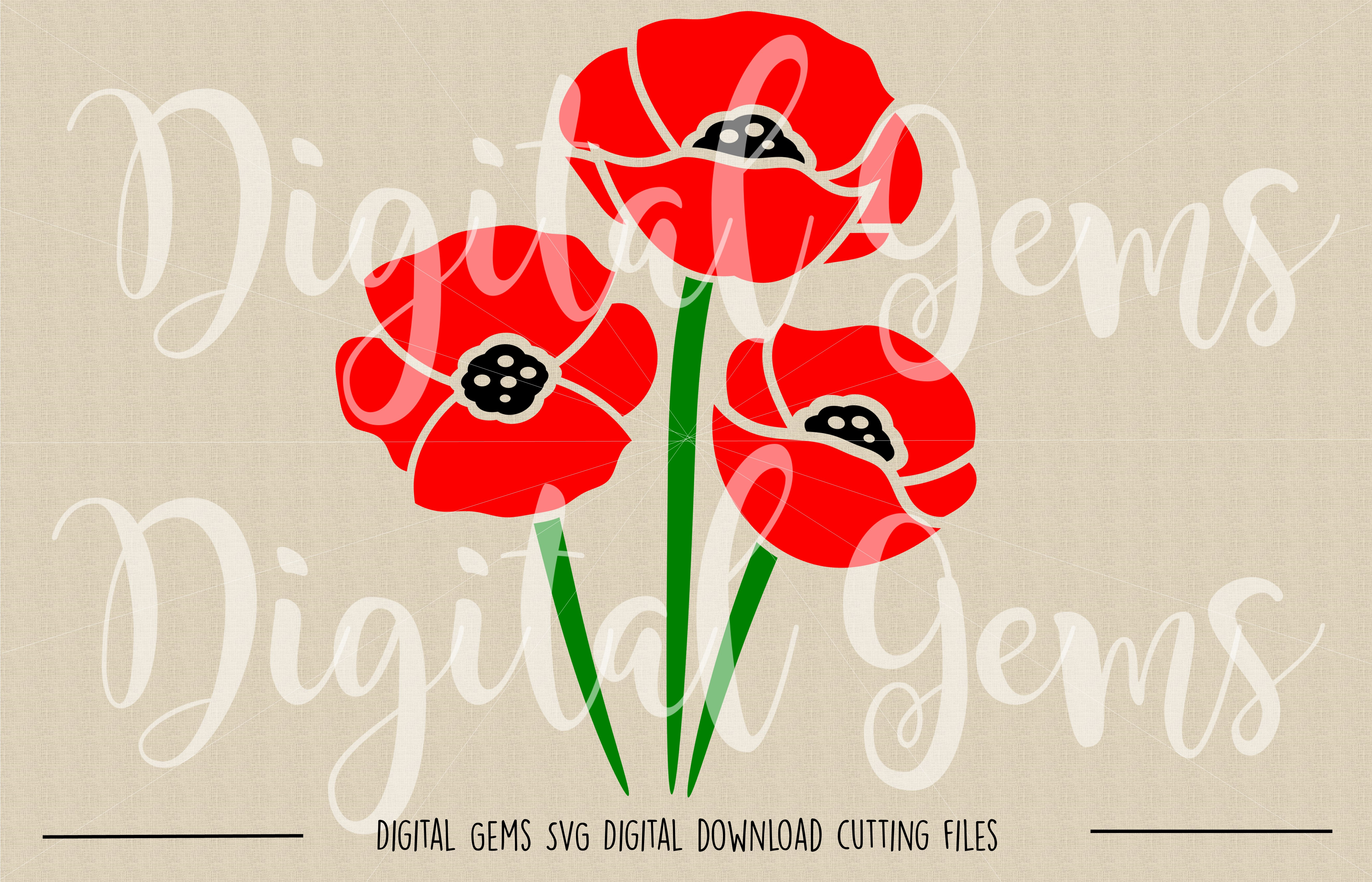 Poppy Flowers SVG / PNG Files example image 2