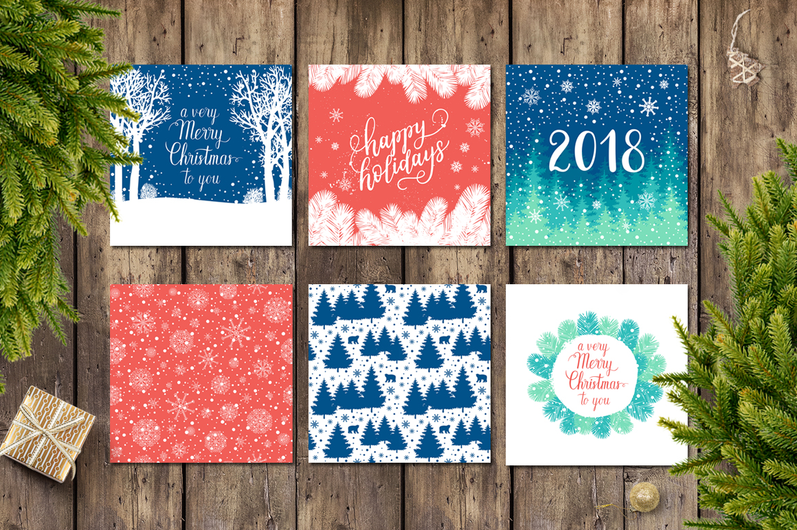12 Holiday cards + 12 patterns example image 1