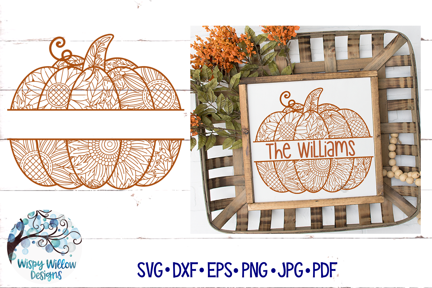 Split Pumpkin Zentangle SVG | Pumpkin Mandala SVG | Fall SVG example image 1