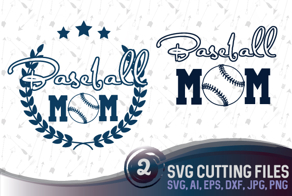 Baseball mom - 2 designs - SVG, EPS, PNG, JPG, DXF, AI example image 1