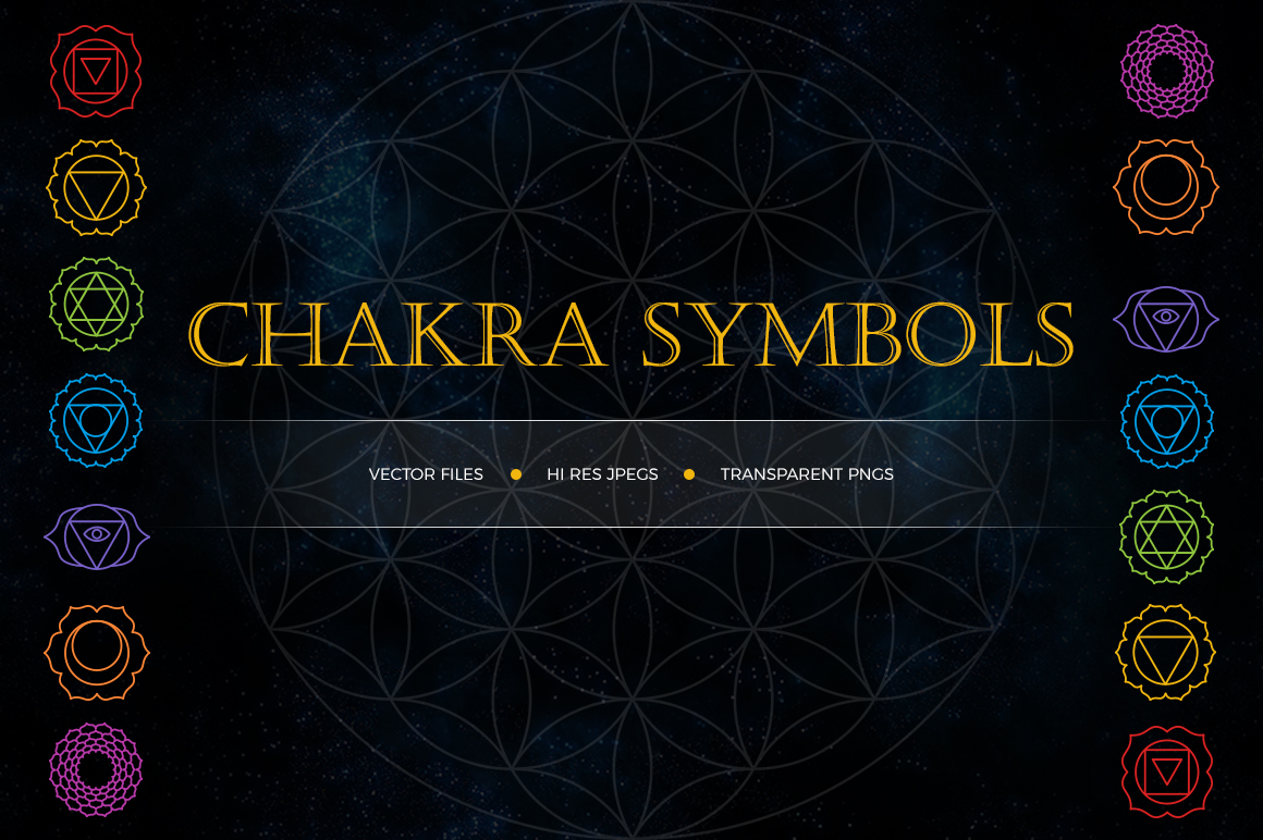 Chakra Symbols and Patterns Vector example image 2