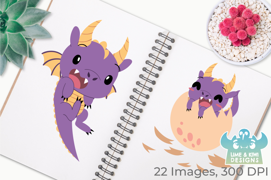 Purple Dragons Clipart, Instant Download Vector Art example image 3