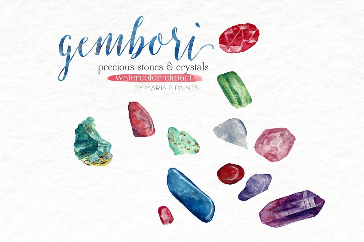 Watercolor Clip Art - Precious Stones, Crystals, Gems example image 1