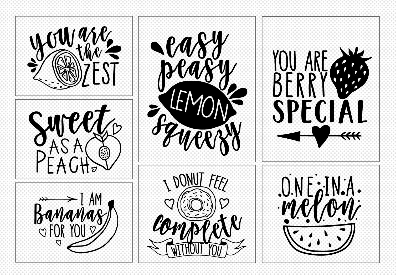 20 Cute Love Notes - Fruits Ver.- Cut File Bundle example image 3